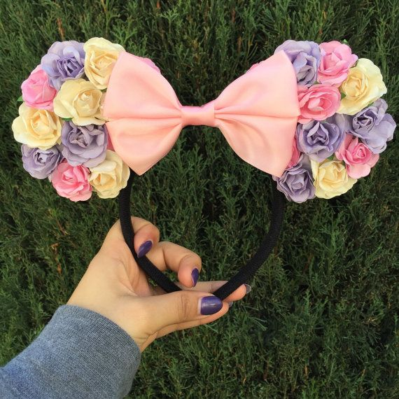 Minnie mouse inspired floral ears, Mickey mouse ears, Disney ears, Minnie mouse, Mickey mouse, Minnie, floral ears, Mickey headband,