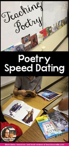 Poetry Speed-dating is a great way to hook students' interest in poetry. Plan a day to let them browse and enjoy poetry books. More information and recommendations at the blog post at http://teachnouvelle.com.