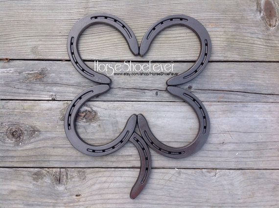 4 Leaf Clover. Welded Horseshoe Art.  Western by HorseShoeFever