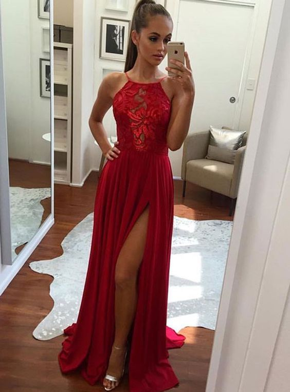 Unique A-Line Halter Split-Front Red Chiffon Long Prom/Evening Dress