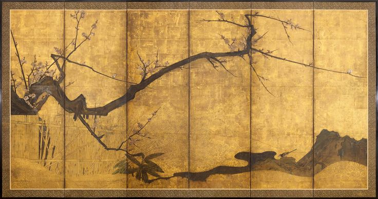 A six-fold paper screen painted in ink and colour on a gold ground with ume…