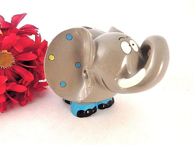 Coin Bank Elephant Figurine Childrens Money Box Whimsical Zoo Animal Piggy Bank Grey Elephant Baby Shower Gift Childrens Room Decor