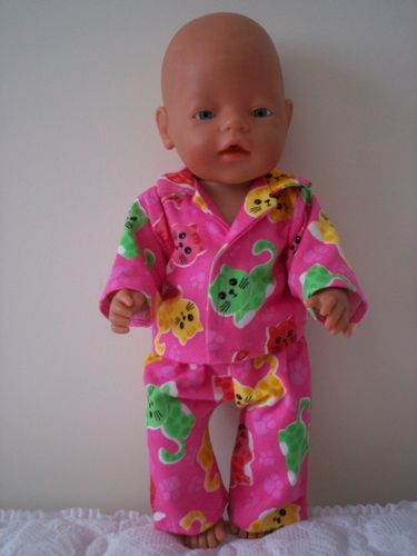 BABY BORN DOLLS CLOTHES  PINK FLANNELLETTE  PYJAMAS