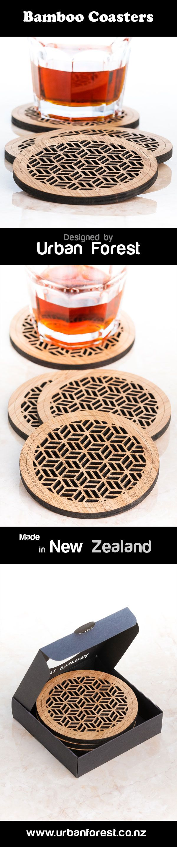 laser cut bamboo coasters design by Urban Forest. Made in New Zealand