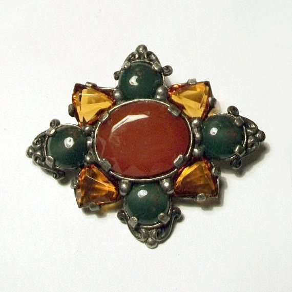 Vintage Miracle Brooch Silver Red Green Amber Yellow Glass Scottish Celtic Jewellery 1960s