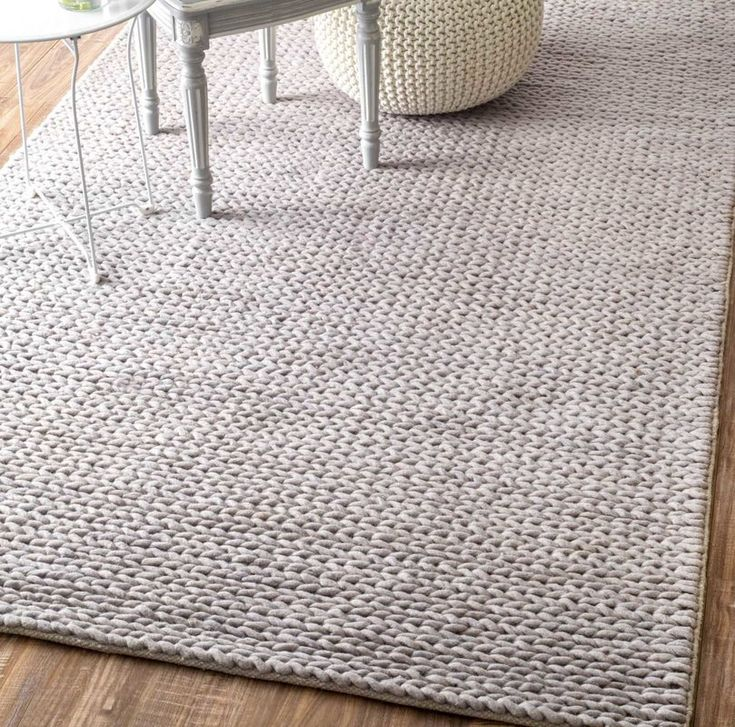 Makenzie Woolen Cable Hand-Woven Light Gray Area Rug