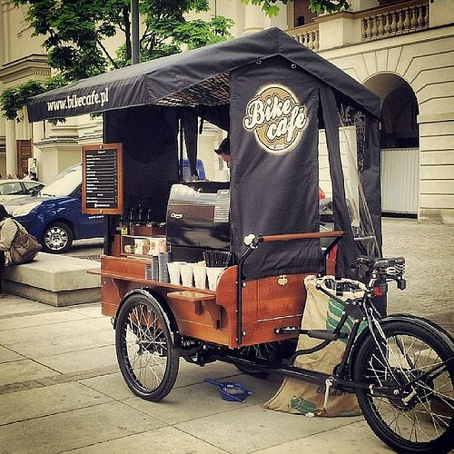 Bike Cafe, Warsaw, Poland.  Nice and simple ( as long as the weather is ok!) PopUp Republic