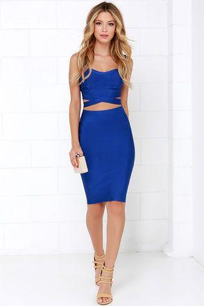 Sexy Blue Two-Piece Dress - Bandage Dress - Bodycon Dress - $78.00