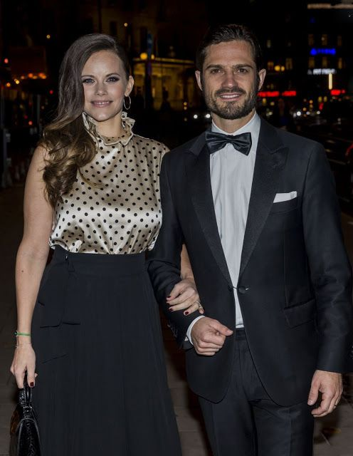 Princess Sofia of Sweden and her husband Prince Carl Philip of Sweden looked to be reveling in the joys of new parenthood once again as they stepped out at a charity dinner for Project Playground in Stockholm on October 20, 2017, nearly two months after welcoming second son Prince Gabriel.