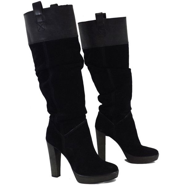 Pre-owned BCBG Max Azria Black Suede Knee High Boots (€90) ❤ liked on Polyvore featuring shoes, boots, suede platform boots, platform boots, zipper boots, black boots and low heel boots