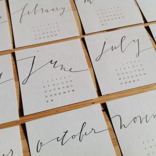 2014 CALENDAR A yearly tradition since 2010. This year, I had the calligraphy + numbers made into a polymer plate, and then I letterpress printed the design onto bamboo paper.