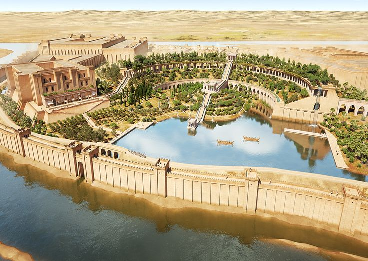 """ArtStation - Hanging Gardens of Ninive, 700 BC, J.R. Casals. Illustration depicting an ideal reconstruction of Hanging Gardens, one of the Seven Wonders of the Ancient World, located in the city of Ninive according to the most recent investigations. Made for the historical magazine Arqueología e Historia DespertaFerro nº 10 """"Babilonia y los Jardines Colgantes""""."""