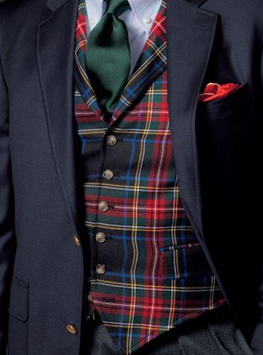 Black Stewart Tartan Waistcoat  Mens Fashion | #MichaelLouis - www.MichaelLouis.com