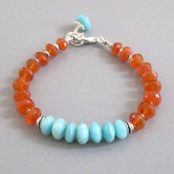 Cornaline Bracelet argent Sterling perle pierres précieuses