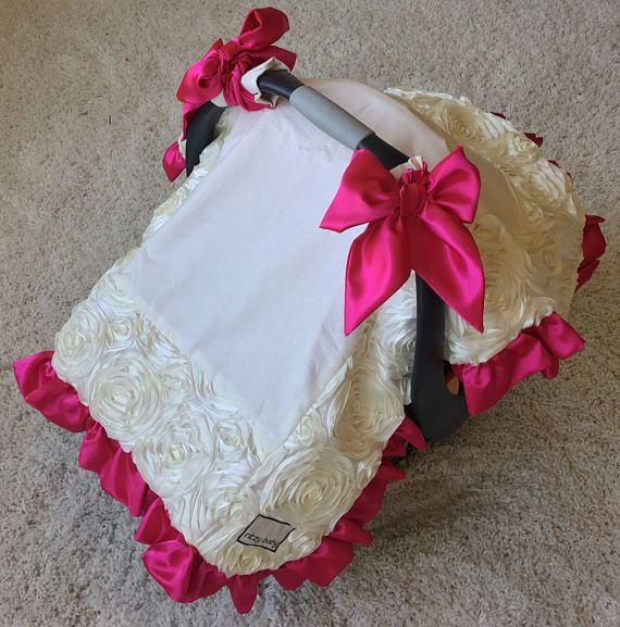 Ivory Roses Canopy Blanket Ivory Car Seat Cover Hot Pink