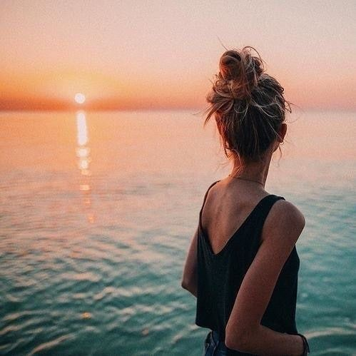 sunset, girl, and beach image