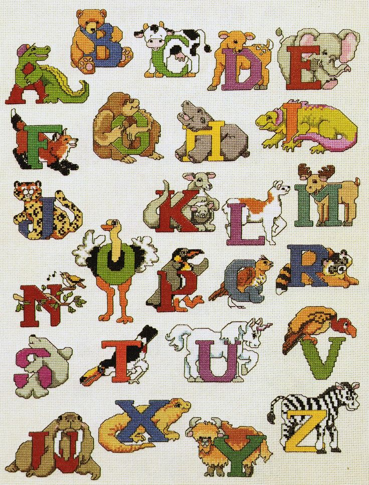 The 'Animals' alphabet  from 'The Ultimate Children's Alphabet Book' by Linda Gillum and Holly DeFount (pub. American School of Needlework, 1996). This is one of the larger and more complex alphabets in this book - and is also one of my favourite alphabet sets therein. There are 23 different alphabets to choose from, varying in size and complexity.