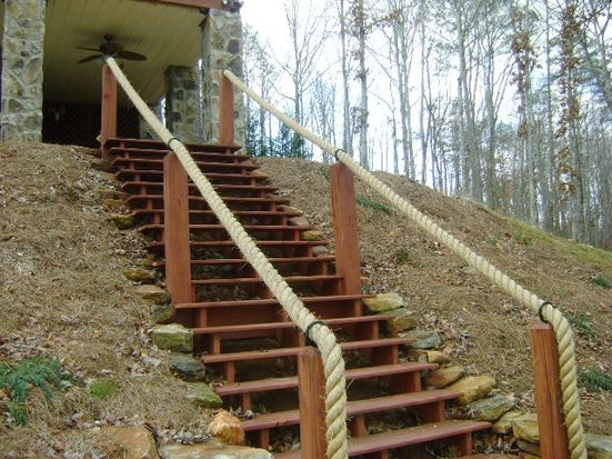 rope handrail for stairs to pond dock yard pinterest