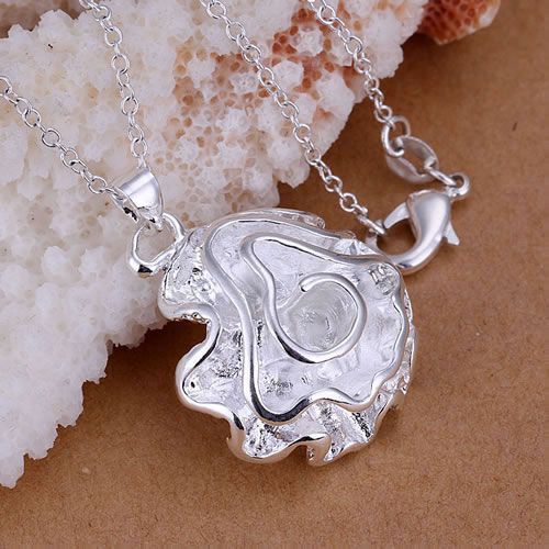 Позолоченные Серебряные ювелирные изделия кулон Ожерелье, позолоченные Серебряные ожерелья Большие розы ожерелье KDP041 rxed ypyf