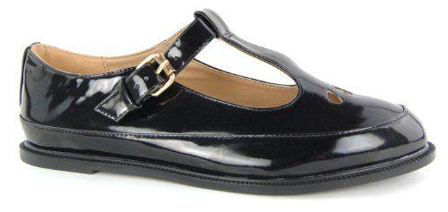 Damen Flache Schuhe Damen Smart Round Toe Loafer Ausschnitt Schnalle School Black Shoe Patent, Größe 39 - http://on-line-kaufen.de/garage-shoes/damen-flache-schuhe-damen-smart-round-toe-loafer