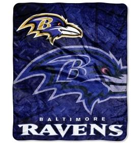 "Baltimore Ravens 50""x60"" Royal Plush Raschel Throw Blanket $34.95 http://www.mysportsdecor.com/baltimore-ravens-throw-blanket.html #baltimoreravens #baltimoreravensthrowblanket #baltimoreravensblanket"