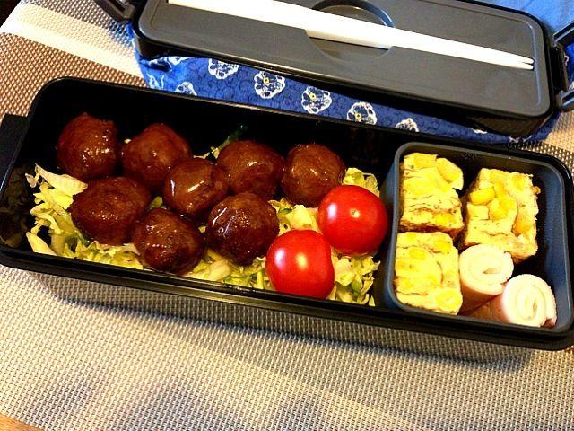 手抜き100%!夫、ごめんね〜(^_^;) - 35件のもぐもぐ - お弁当♡ミートボール、コーン入り卵焼き、ハムチーズ巻き、サラダ by usaco123