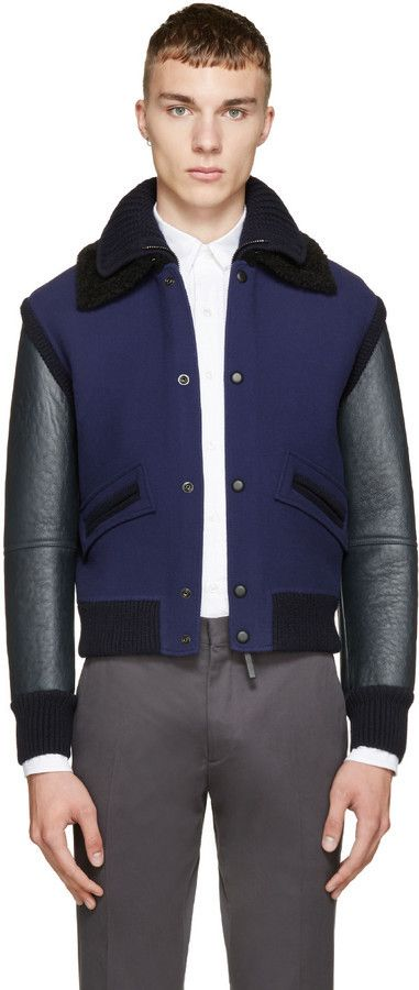 $1,919, Burberry Prorsum Black Blue Bomber Jacket. Sold by SSENSE. Click for more info: https://lookastic.com/men/shop_items/355620/redirect
