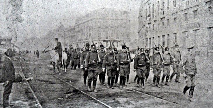1903, Valparaíso, cuerpo de policía durante un incendio