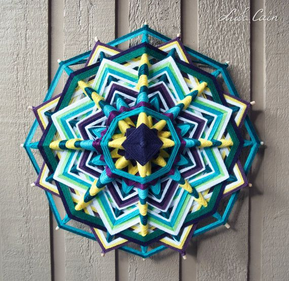Mandala (Ojo de dios / God's eye) -Day and Night- (16 sided, 18 inch)