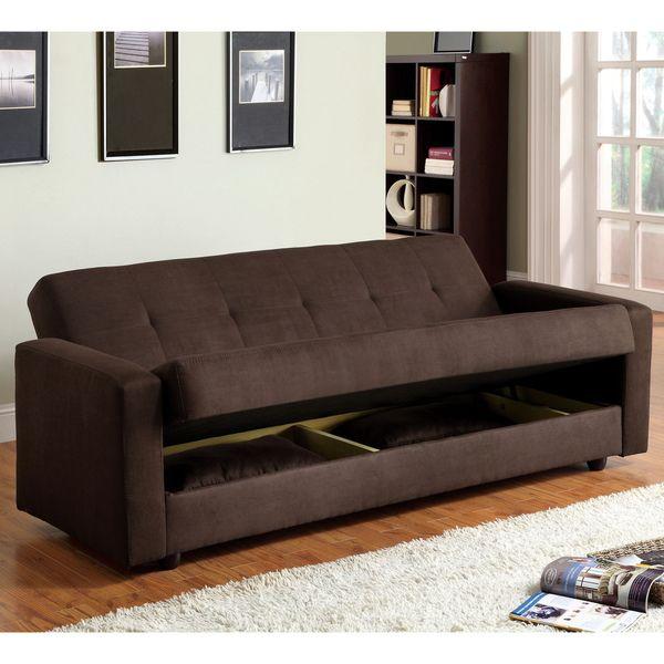 Furniture of America Cozy Microfiber Sleeper Sofa Bed with Storage