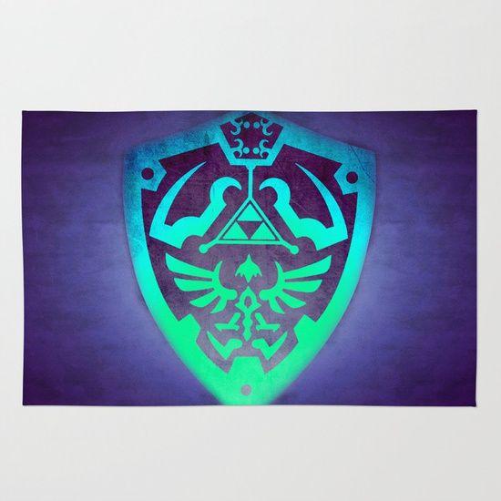 Sold!! Zelda Shield Rug  4' x 6'. Wonderful gift for Gamers and Kids! #zelda #zeldashield #legendofzelda #linkshield #gaming #gamer #kidsroom #gamergifts #gamersroom #homedecor #rug #giftsforhim #giftsforher