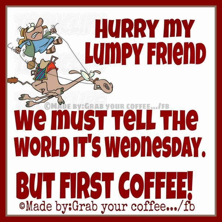 Funny Wednesday coffee quote.