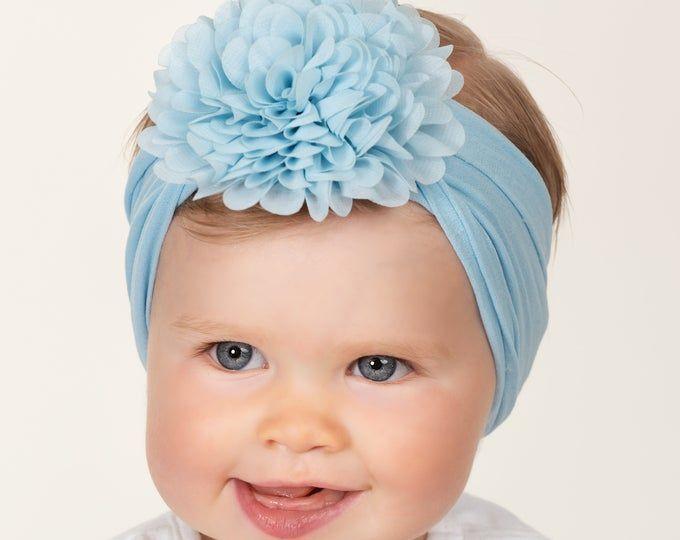 White Baby Headband PICK COLOR Nylon Baby headbands Baby Head wraps Baby Girl Hair Bows Newborn Headbands DHALIA Big Flower Headband