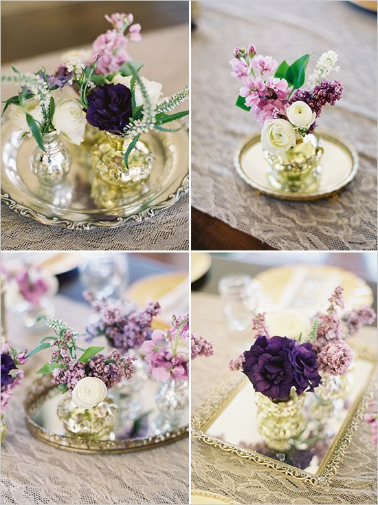 florals placed on trays-- like the trays