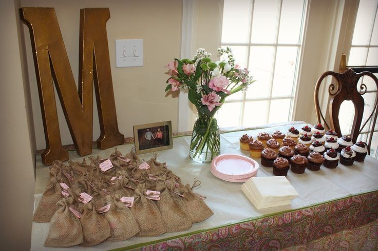 Bridal shower favors + desserts #pink #gold