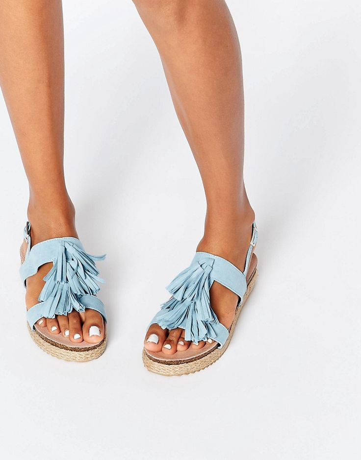Lost Ink Nierka Blue Tassel Espadrille Sandals
