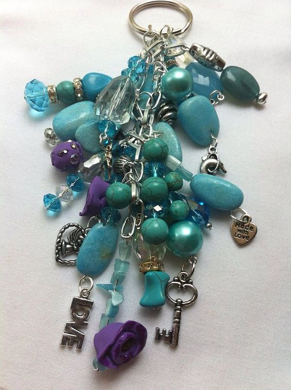 Turquoise beads, silver chain with silver charms key chains  on Etsy, $15.00