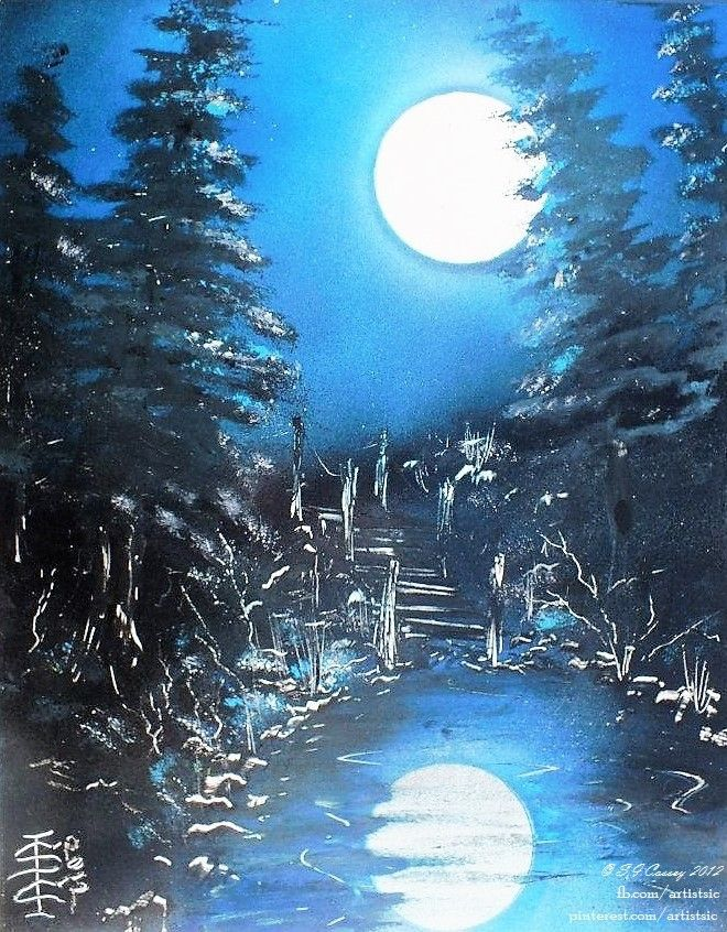 """Moon Pool"". Spray paint art (on 14"" x 11"" card). 2012."