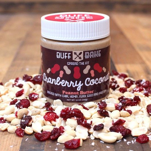 Buff Bake Cranberry Coconut Peanut Butter - 340g - Handmade by Buff Bake, this tasty peanut butter is fortified with all natural whey protein guaranteeing you a whopping 11g of protein per serving.
