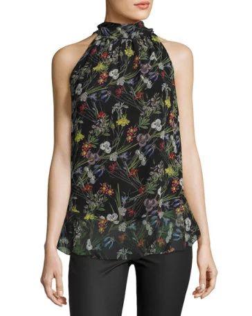 Halter-Neck Floral-Print Georgette Top, Black Pattern