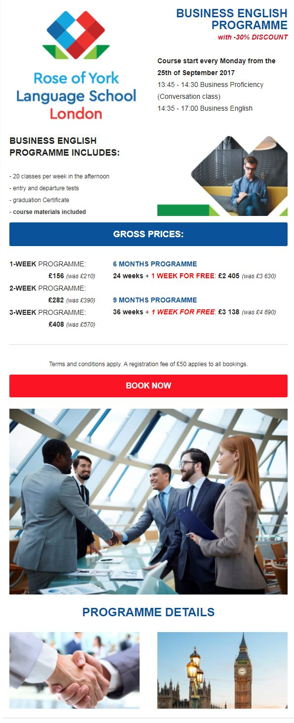 BUSINESS ENGLISH CLASS WITH - 30% DISCOUNT   http://www.studybooking.com/school/view/rose-of-york-language-school-in-uk   #BusinessEnglish