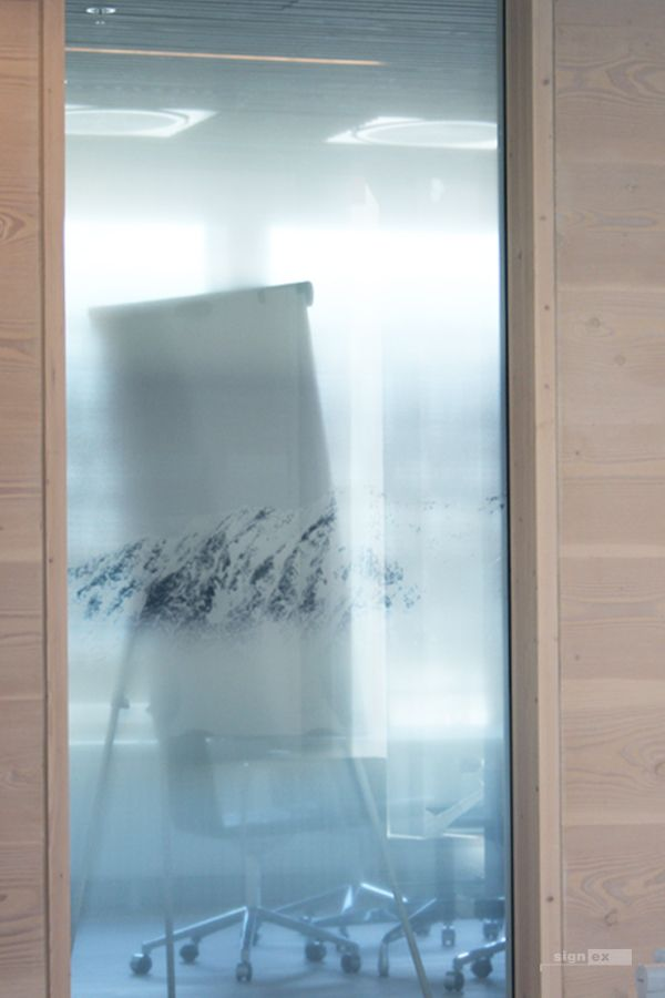 Glass film meeting room, white fade and mountains