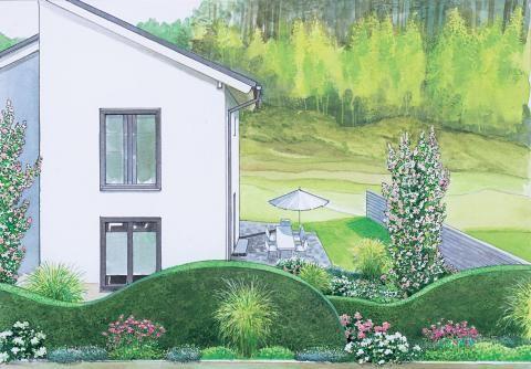 Vorgarten mit geschwungene Sichtschutzhecke