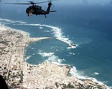 CW3 Michael Durant's helicopter Super Six-Four above Mogadishu on 3 October 1993. Black Hawk Down.