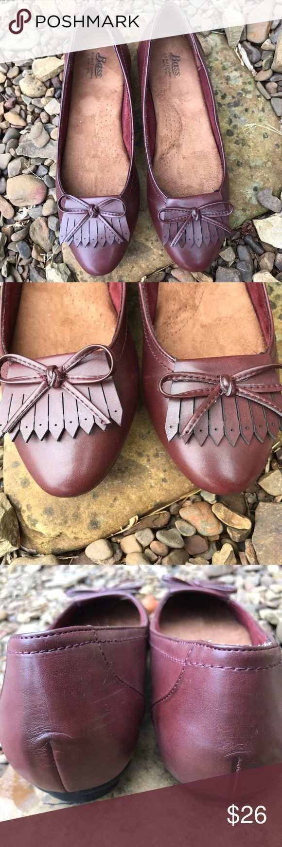 Bass Burgundy Kayden Kiltie Loafers Slip-ons Flats Burgundy toned faux leather with fringe and bow detail. Padded footbed and rubber sole. Labeled as a size 7.5. In excellent pre-loved condition!  ✅ Offers  ✅ Bundle discounts  ❌ Trades Bass Shoes Flats & Loafers