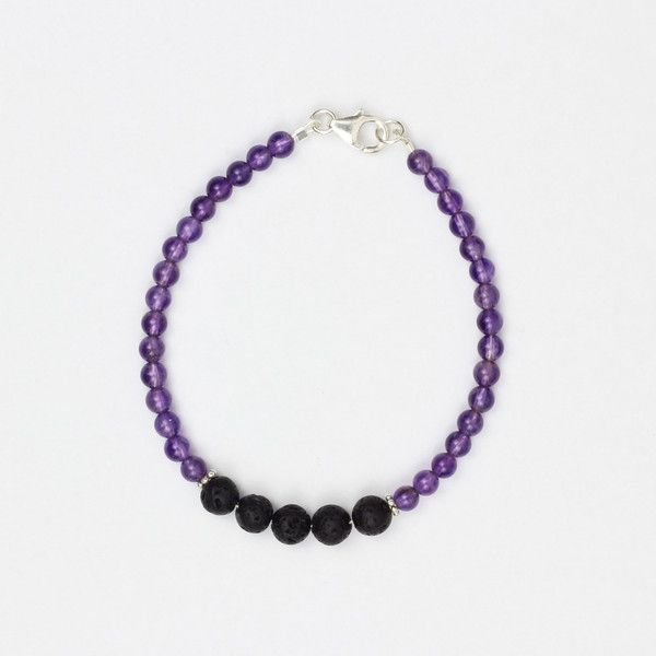 Good Vibes Bracelet | Lava stone beads allow you to diffuse essential oils and the amethyst helps to channel positive energy | Would be good with lavender EO