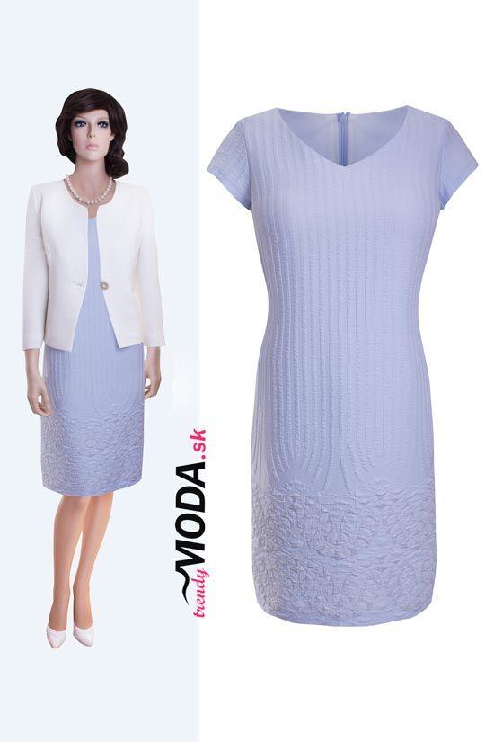 Elegantné dámske modré letné šaty a slonovinovo biele sako - trendymoda.sk