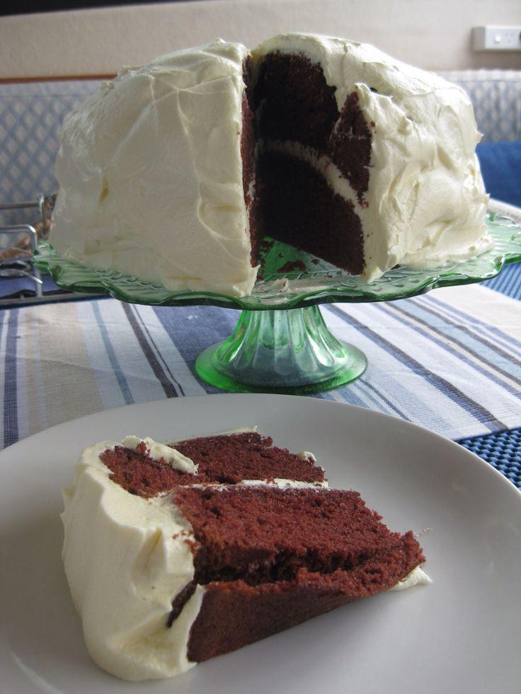 Red Velvet cake on the boat