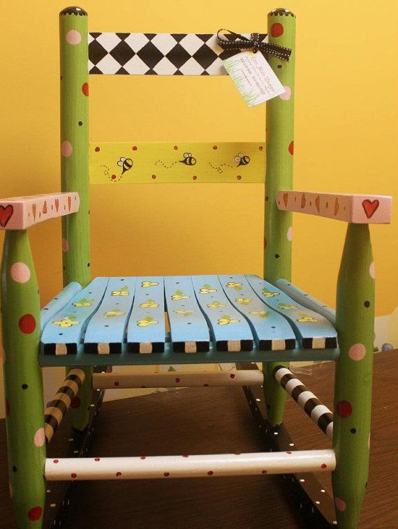 Hand Painted Child's Rocking Chair by erinhisledesigns on Etsy.