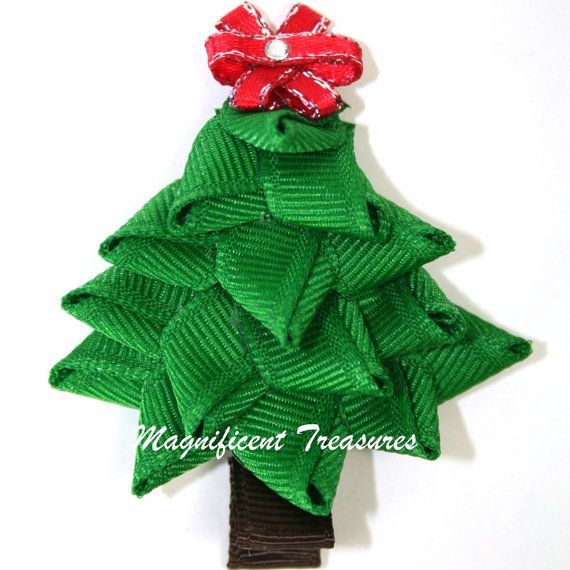 3D Christmas Tree Ribbon Sculpture Hair Clip or by Magnificence, $5.00